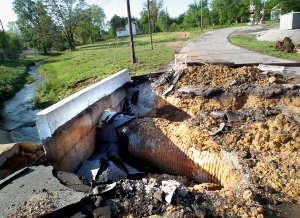 The bridge over Decatur Branch Creek on Second Street was destroyed by April flooding.