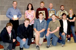 Students at Gravette High School honored their teachers. Students, from the left in the foreground, are Daniel Dalton, Sam Dalton, Aaron Homer, Keil Homer, Joel Coy and Stephanie Burch. Teachers honored, back row, are Vic Clouse, Physical Science/Counselor; Angela Scott, Health Occupations; Matt Skrocki, English; Harry Almond, Business; and Jaron Porter, German/Civics.