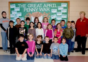 Winners of the Penny War were: Noah Craycraft (front, left), Kelsey Fletcher, Alyssa Holland, Braxton Muldoon, Dakota Sizemore, Abigail Smith, Kyle Alberg (middle, left), Bobby Alexander, Lelu Cornelius, Anna Crume, Hannah Earl, Exie Green, Eddie Warbritton, Haidee Larson (back, left), Colt Church, Niketas Delgato, Kali Harris, Arissa Smith, Kristin Smith, Logan Ellis, Ronnie Thompson and Mrs. Martin.