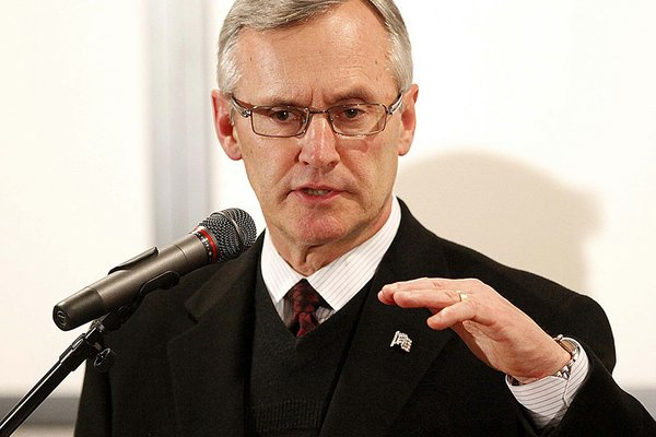 Ohio State coach Jim Tressel talks with members of the media during an NCAA college football news conference, Tuesday, March 8, 2011, in Columbus, Ohio.