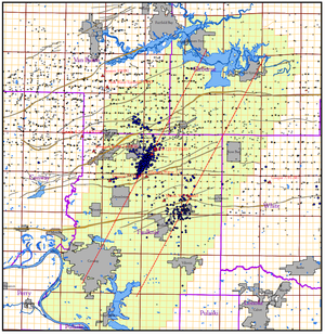 A map provided by the Arkansas Oil and Gas Commission shows in yellow a proposed moratorium area for disposal wells.