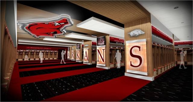 1e1323244 An artist s rendering shows the inside of Arkansas  locker room as part of  a proposed  35 million football operations center.