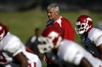 Arkansas Democrat-Gazette/JASON IVESTER 08-17-09 UA football practice on the practice field assistant coach Bobby Allen