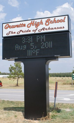 Although the temperature had been hotter — 114-degrees on Aug. 3 — this marquee at the Gravette School proves it didn't cool off much two days later.