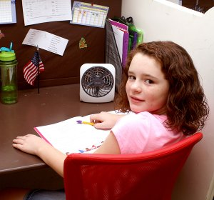 Haylee Pyburn works at her desk at Community Christian School in Gentry. The new Christian school provides an affordable alternative to public school and motivates students to work at their own pace and excel beyond state and federal guidelines for their grade levels.