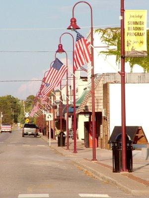 Flags along Gentry Main Street