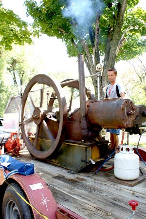 One of the exhibits enjoyed most on the lawn at the Gravette Historical Museum during the Gravette Day celebration was a display of antique machinery from Tired Iron of the Ozarks from Gentry.