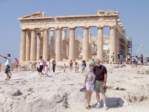 Lisa Davis and her husband Jerry Davis visited the Parthenon in Athens, Greece.