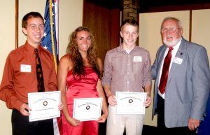 Recipients of MOAA scholarships are, from the left, Daniel Poemoceah, Loren Lee Cripps, and Conner Cockrell, with Pete Hieronimus, MOAA treasurer.