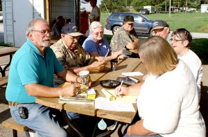 Maysville area residents gathered at the Maysville Handi-stop to discuss the importance of the Maysville Post Office and how they can prevent it being closed. Clockwise from the left, Gary Chastain, Marvin Wilber, Carol Loux, Omer Sunter, Leon Whiteside, Donna Graham and Myrtle Thomas.