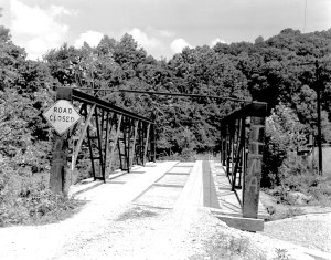 This photo from the Historic American Engineering Record shows the Spavinaw Creek Bridge on Limekiln Road, then known as County Road 29, before it was dismantled.