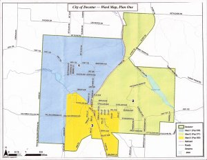 Decatur's city council approved new ward boundaries, as drawn above, to comply with state law which requires population numbers be equalized between wards. The 2010 Census numbers made the council action necessary.