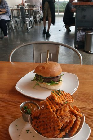 Sweet Potato Fries and White Truffle & Pecorino burger at Big Orange in west Little Rock.