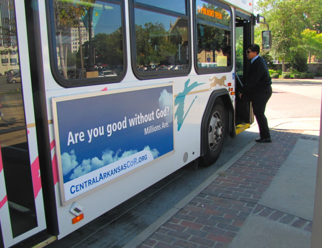 an-ad-from-the-central-arkansas-coalition-of-reason-adorns-a-central-arkansas-transit-authority-bus
