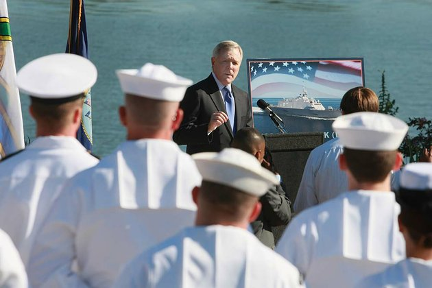 ray-mabus-us-secretary-of-the-navy-makes-some-remarks-during-a-ceremony-honoring-the-naming-of-the-future-uss-little-rock-a-littoral-combat-ship-class-in-riverfront-park-in-little-rock-in-2011
