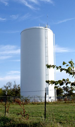 Although this tank was erected to hold thousands of gallons of water for the Gravette rural water system, it has never been put into service because of an elevation foul-up.