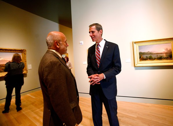 Photo by Jason Ivester—                                                                                        Museum Executive Director Don Bacigalupi (right) talks with John Tyson during the grand opening of Crystal Bridges Museum of American Art in Bentonville on Friday, Nov. 11, 2011.