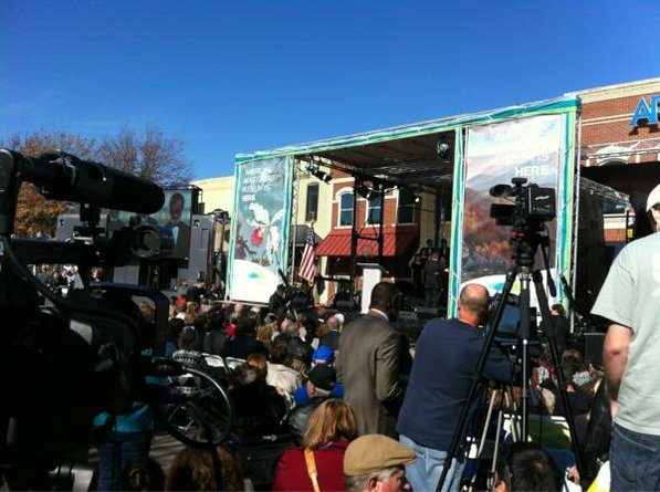 Photo by Kevin Kinder—                                                                                        The scene on the Bentonville Square for the opening of the Crystal Bridges Museum of American Art.