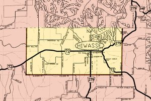 The area within the bold lines on the south, east and west is the proposed line for area which Bella Vista (to the north and east) wishes to annex into the newly incorporated city. If approved, Hiwasse would become a part of Bella Vista.