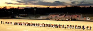 With a colorful sunset in the background, more than 100 parents/supporters gathered with the 42 Seniors who were honored in a pre-game ceremony at Lion Field as the Lions ended their regular season with an impressive 38-28 win over the Prairie Grove Tigers. The Lions defeated Pocahontas in first-round state play-off action and travel to Warren to face the Lumberjacks on Friday.