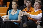This Nov. 9, 2011, photo shows Oklahoman State women's basketball coach Kurt Budke, right, and assistant coach Miranda Serna during an an exhibition women's NCAA college basketball game against Fort Hays State, in Stillwater, Okla.