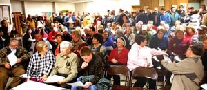 A standing room crowd of almost 200 people filled the Hiwasse Fire Station meeting room Monday night to hear Bella Vista Countil members discuss that city's proposed annexation of the Hiwasse Community. The hour-long meeting answered few questions acceptably to residents, who vocalized opposition and who will be affected if an election is held and voters approve the plan. The measure to finalize putting the question on a ballot requires two more readings, Bella Vista City Council members Doug Farner and J. D. Shrum told the group.