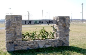 The entrance sign to Pop Allum Park, created by Gravette Eagle Scout Ty Graves.