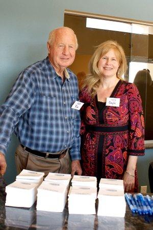 Gayla McKinzie, owner of Gravette radio station KBVA, and her father, Senator Kim Hendren.