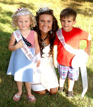 Winners of the Miss Tiny Tot and Mister Tiny Tot pageants, Raley Dilbeck and Cole Beaver, both 3, pose for a photo with reigning Miss Gentry, Courtney Millsap.