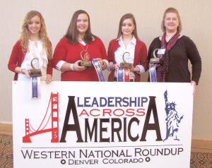 Winners at the Leadership Across America roundup in Denver, Colo., were: Janee' Shofner — Centerton 4-H (left); Carley Allen — Johnson County 4-H; and Sarah Mills — Outdoor Adventures 4-H in Gentry. Susan Holman, county extension agent in Franklin County, is on the right.