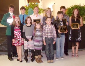 Shown at the Benton County Achievement Award banquet are club members: Kendall Yarbrough (left, front), Hannah Harris, Haley Harris, Hayden Harris, Cole Leonard, Sayer Smith (left, back), Carson Alsup, Joshua Lockhart, Ashton Yarbrough, Noah Smith and Lauren Leonard.