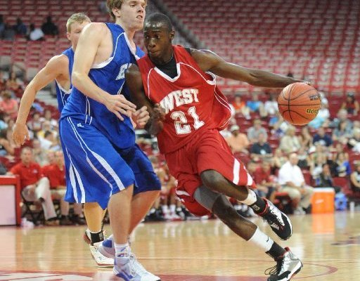 Fred Gulley drives to the basket during the 2009 AHSCA All-Star Game at Bud Walton Arena in Fayetteville. Gulley, who left Oklahoma State last month, has enrolled at Arkansas and hopes to join the Razorbacks' basketball team.