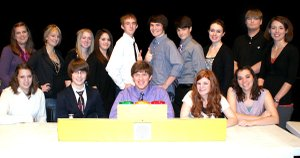 Pictured is the Gravette High School ACE team which competed Jan. 17 at the Performing Arts Center: Front, left, Quincy Curtis, Brian Smithers, Russell Sharp, Jayla Brown and Kelsey Gregory; back, left, Alison Shaffer (advisor), Lea Tanner, Lacey Newell, Amanda Varner, Rob Benson, Sayer Smith, Carson Alsup, Sierra Murphy, Trey Hicks and Megan Bassing (advisor).