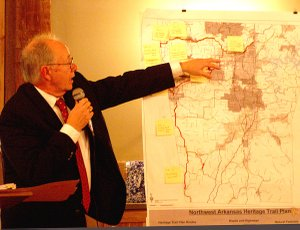 Gentry Chamber Banquet — Civil War historian Rick Parker points out places of historical significance in local Civil War history during his presentation at the banquet. Once the history is fully documented, Heritage Trail signs can be placed in western Benton County.