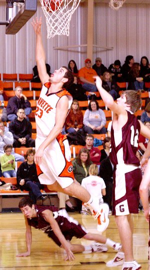 Matt VanOtterloo goes up for two in a recent game against Gentry.