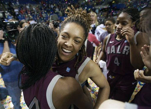 arkansas-little-rocks-taylor-ford-center-hugs-teammate-taylor-gault-left-as-teammate-kiera-clark-4-wipes-her-eye-after-the-team-defeated-middle-tennessee-71-70-in-overtime-in-the-sun-belt-conference-tournament-final-at-summit-arena-in-march-the-conference-announces-tuesday-that-the-tournament-will-be-moving-from-hot-springs-to-lakefront-arena-in-new-orleans-beginning-in-2013