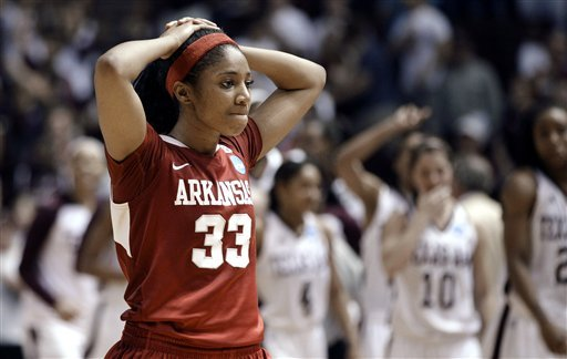 Arkansas' Lyndsay Harris (33) reacts after Arkansas' 61-59 loss to Texas A&M in the second-round if the women's NCAA Tournament on Monday in College Station, Texas.