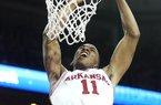 Arkansas Democrat-Gazette/WILLIAM MOORE Arkansas' BJ Young misses a dunk against Florida Saturday, February 18, 2012 at Bud Walton Arena in Fayetteville.