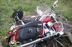Bobby Petrino's Harley-Davidson motorcycle following an accident on Sunday.