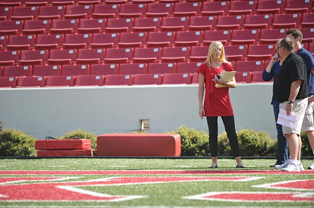 arkansas-democrat-gazettemichael-woods-jessica-dorrell-at-reynolds-razorback-stadium-on-march-30-2012