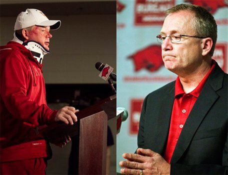 Arkansas football coach Bobby Petrino (left) was placed on paid administrative leave on Thursday by UA athletics director Jeff Long (right) after Petrino lied about details surrounding his motorcycle accident last Sunday. (AP Photos)