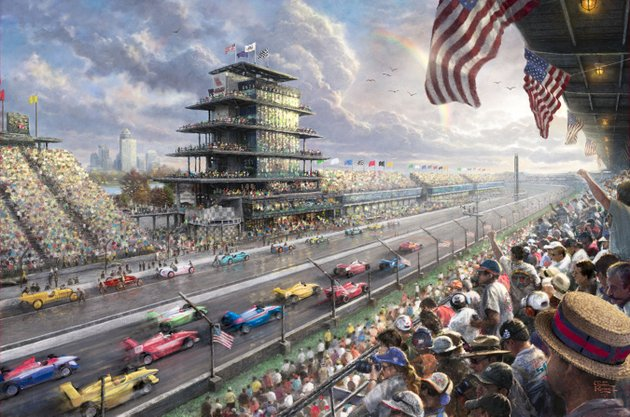 this-undated-photo-provided-by-the-thomas-kinkade-company-via-pr-newswire-shows-thomas-kinkades-new-studio-masterwork-indy-excitement-100-years-of-racing-at-indianapolis-motor-speedway-kinkade-whose-brushwork-paintings-of-idyllic-landscapes-cottages-and-churches-have-been-big-sellers-for-dealers-across-the-united-states-died-friday-april-6-2012-a-family-spokesman-said
