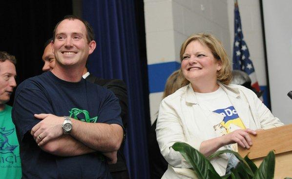 Eric Hipp, left, assistant principal ...
