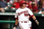 Arkansas first baseman Dominic Ficociello hit a home run for the second consecutive game.
