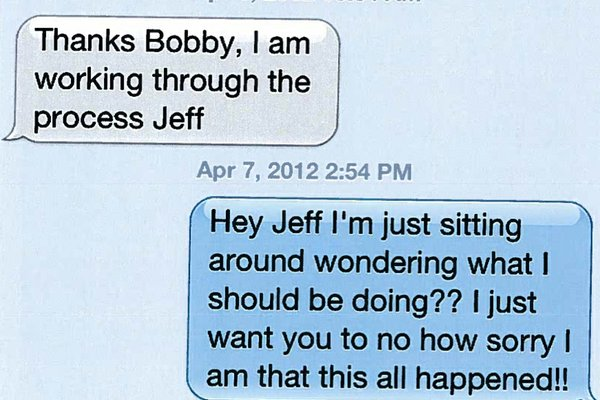 Text message dialogue between UA athletics director Jeff Long and former football coach Bobby Petrino on April 6.