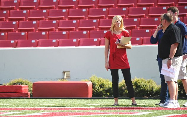eight-months-after-resigning-her-position-on-the-arkansas-football-staff-jessica-dorrell-has-landed-a-new-job-after-moving-to-south-carolina-she-is-shown-here-at-reynolds-razorback-stadium-in-march