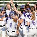 Fayetteville's Brittany Hoskins is greeted at the plate by her teammates Tuesday following a two-run...