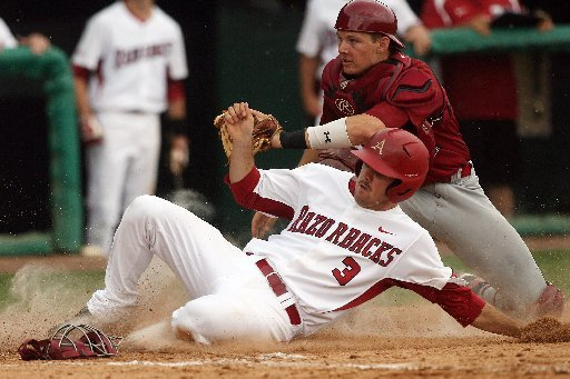 arkansas-democrat-gazettewilliam-moore-arkansas-jacob-mahan-is-tagged-out-at-home-by-south-carolina-catcher-grayson-greiner-sunday-may-6-2012-at-baum-stadium-in-fayetteville