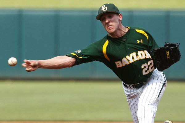 Trent Blank will start on the mound for Baylor today against Arkansas in the first game of an NCAA super regional. The Razorbacks batted only .228 as a team at last week's Houston Regional.