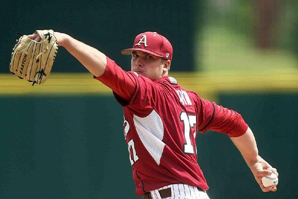 Barrett Astin (shown) is a hard-throwing right-hander and part of the Razorbacks varied bullpen.